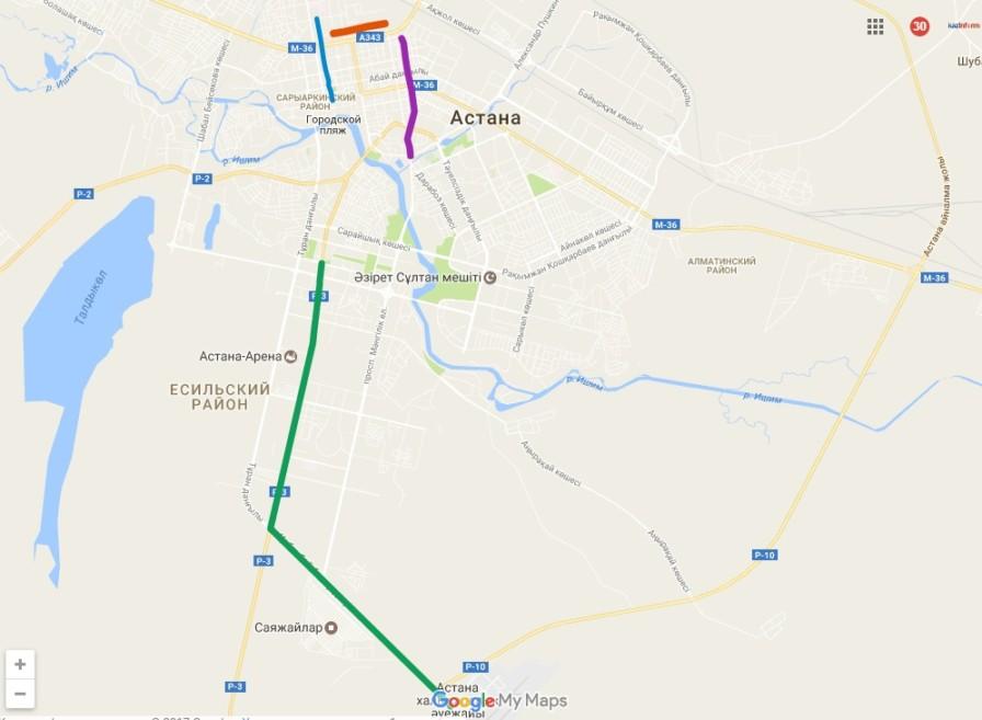 Астана қаласы көшелерінің картасы
