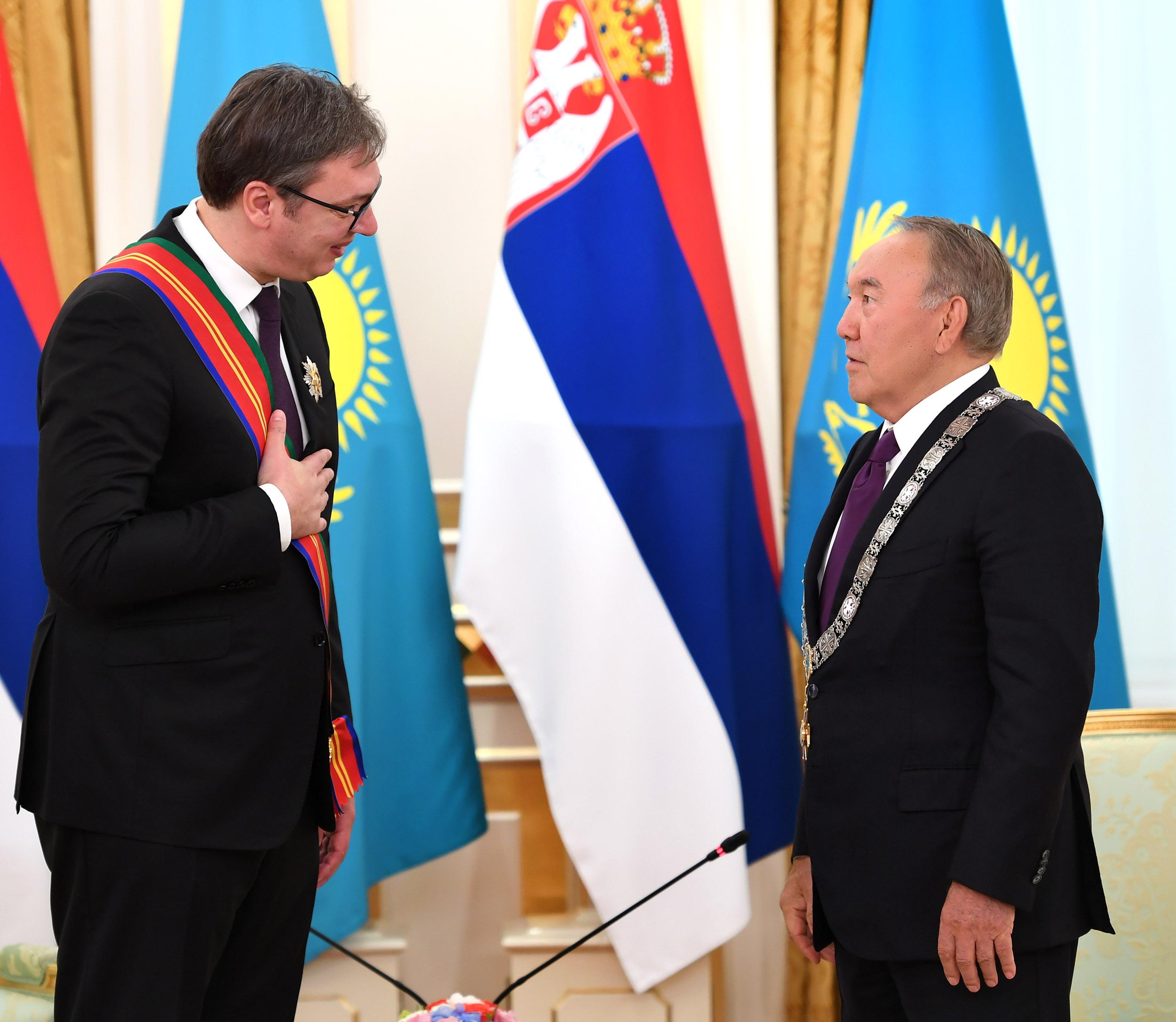 Александр Вучич пен Нұрсұлтан Назарбаев. Фото: Аkorda.kz